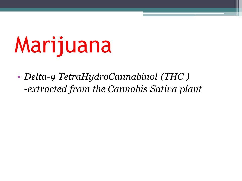 Marijuana Delta-9 TetraHydroCannabinol (THC ) -extracted from the Cannabis Sativa plant