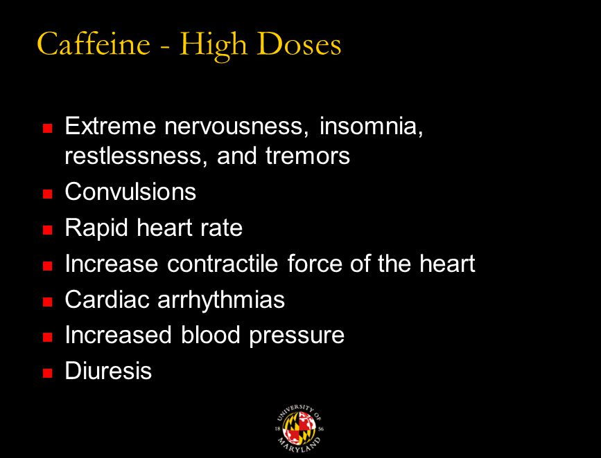 Caffeine Typical doses from 40 – 150 mg.
