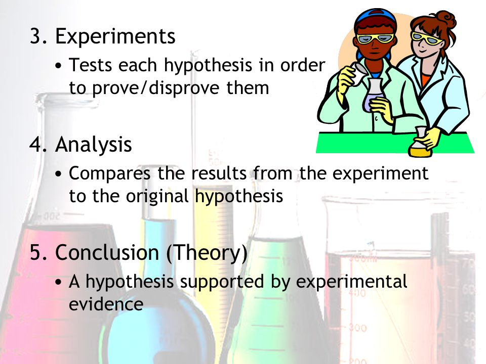 3. Experiments Tests each hypothesis in order to prove/disprove them 4. Analysis Compares the results from the experiment to the original hypothesis 5