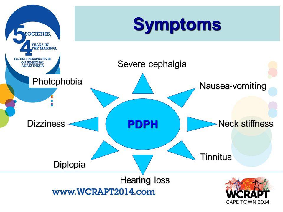 Symptoms PDPH Severe cephalgia Photophobia Nausea-vomiting Neck stiffness Tinnitus Diplopia Dizziness Hearing loss