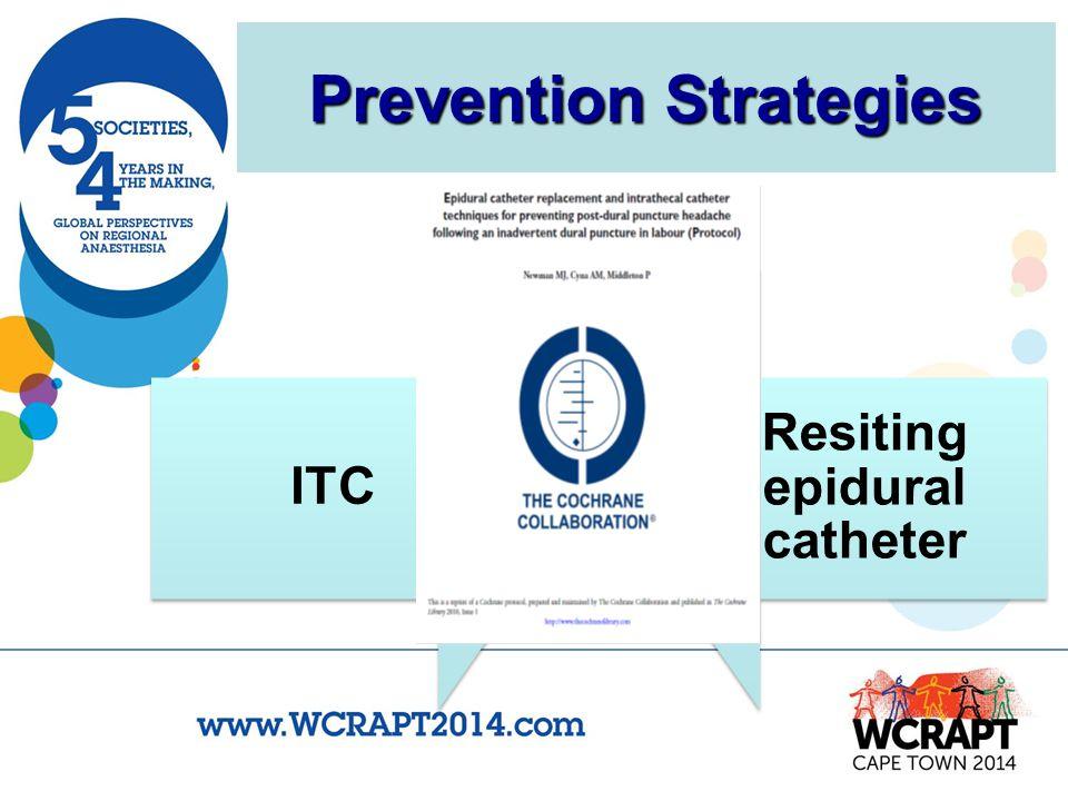 Prevention Strategies ITC Resiting epidural catheter vs