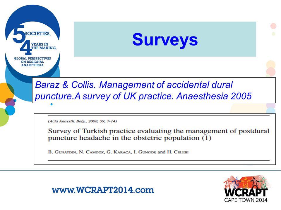 Surveys Baraz & Collis. Management of accidental dural puncture.A survey of UK practice.