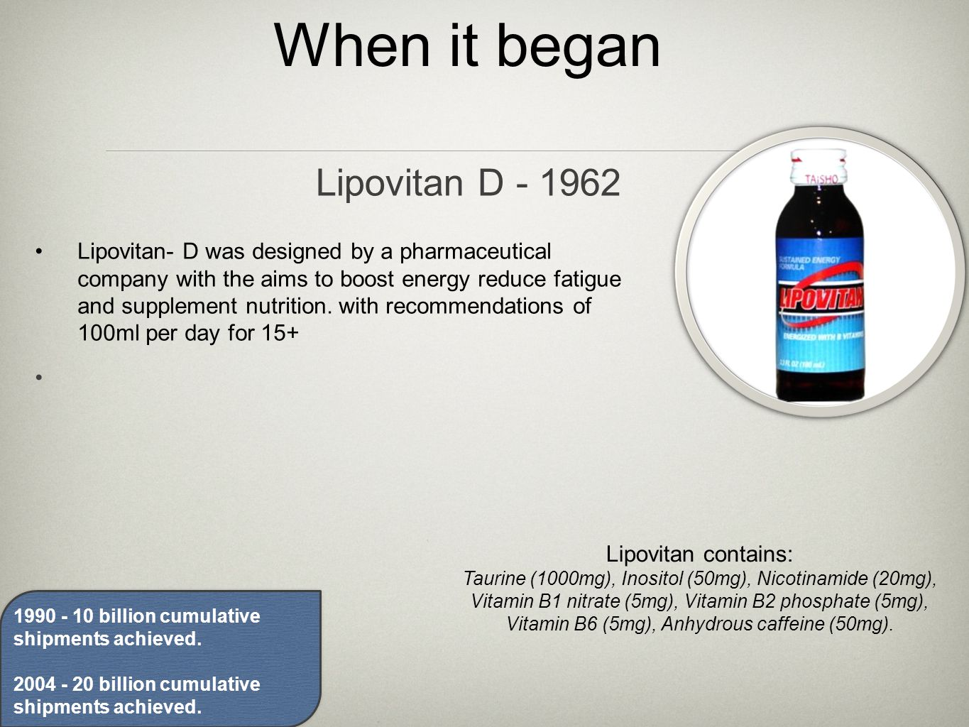When it began Lipovitan- D was designed by a pharmaceutical company with the aims to boost energy reduce fatigue and supplement nutrition.