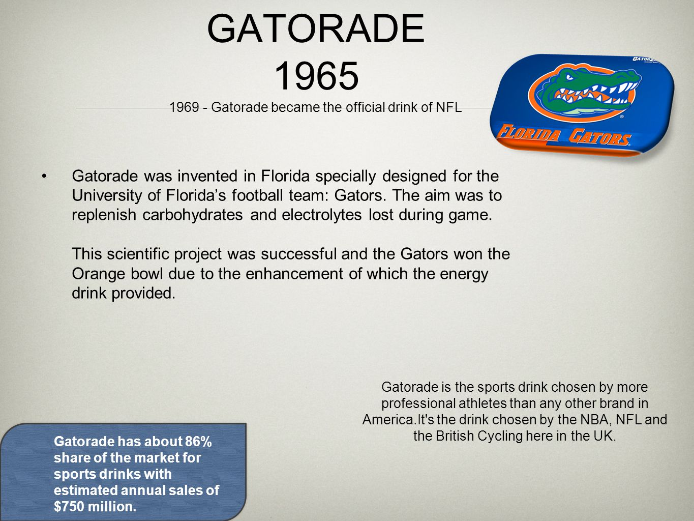 GATORADE 1965 1969 - Gatorade became the official drink of NFL Gatorade was invented in Florida specially designed for the University of Florida's football team: Gators.