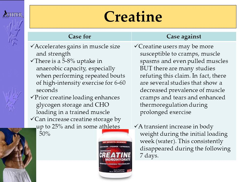 Creatine Case forCase against Accelerates gains in muscle size and strength There is a 5-8% uptake in anaerobic capacity, especially when performing r
