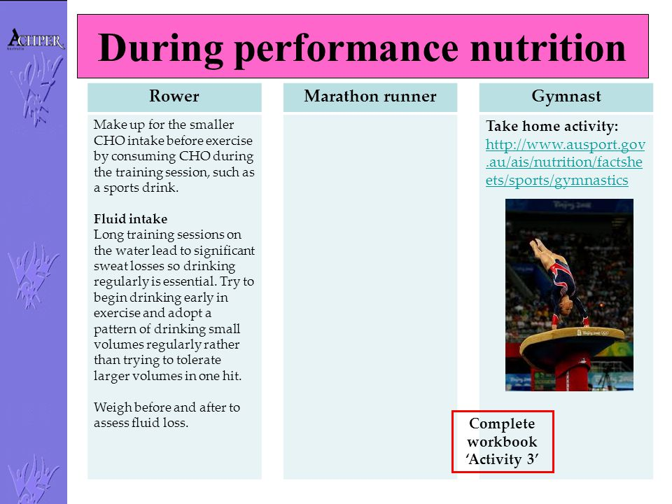 During performance nutrition Rower Make up for the smaller CHO intake before exercise by consuming CHO during the training session, such as a sports d