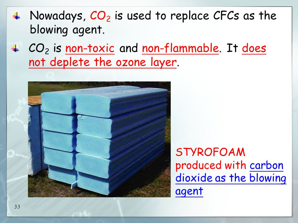 33 Nowadays, CO 2 is used to replace CFCs as the blowing agent.