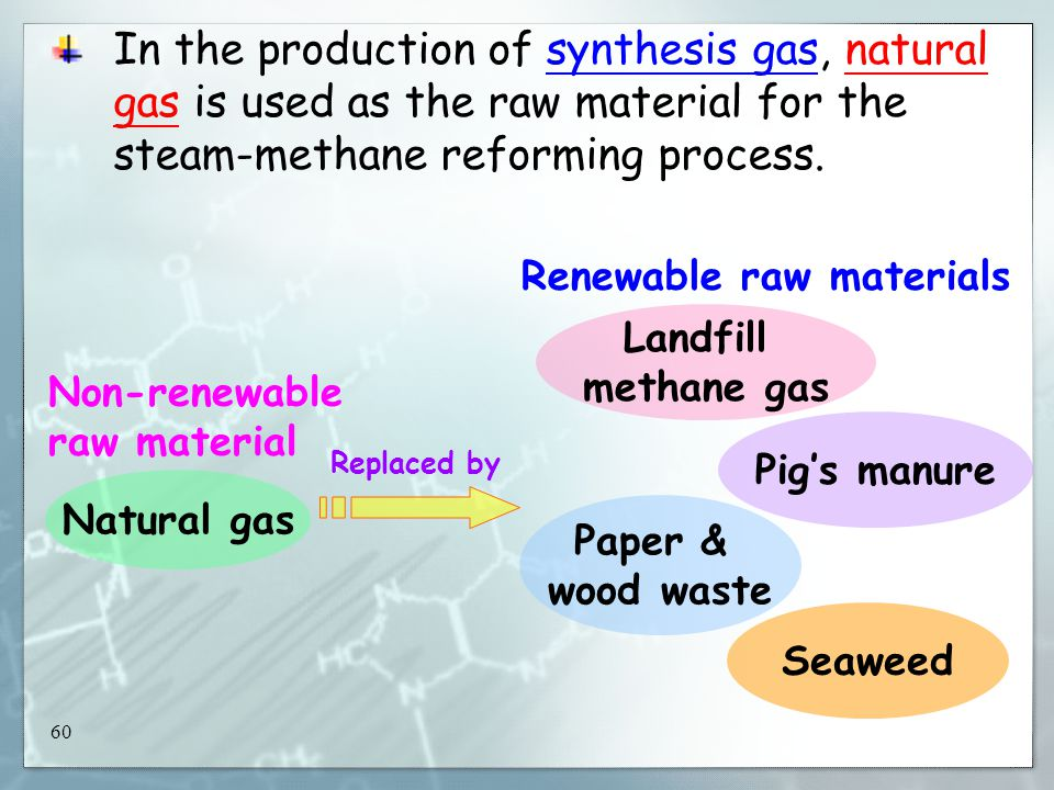 60 In the production of synthesis gas, natural gas is used as the raw material for the steam-methane reforming process.