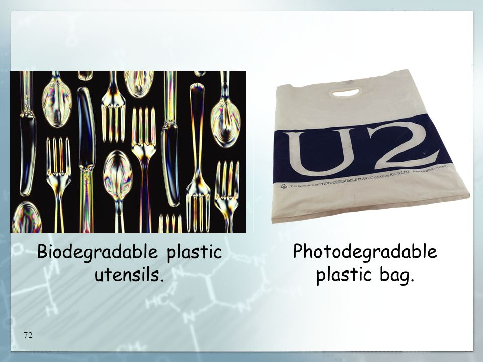 72 Biodegradable plastic utensils. Photodegradable plastic bag.