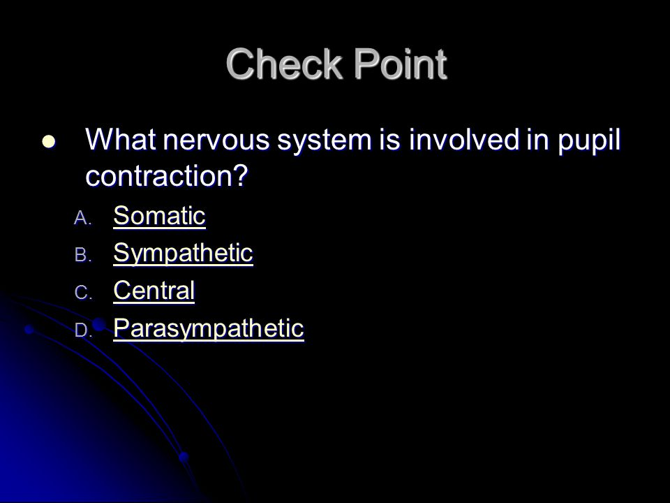 Check Point What nervous system is involved in pupil contraction? What nervous system is involved in pupil contraction? A. Somatic Somatic B. Sympathe
