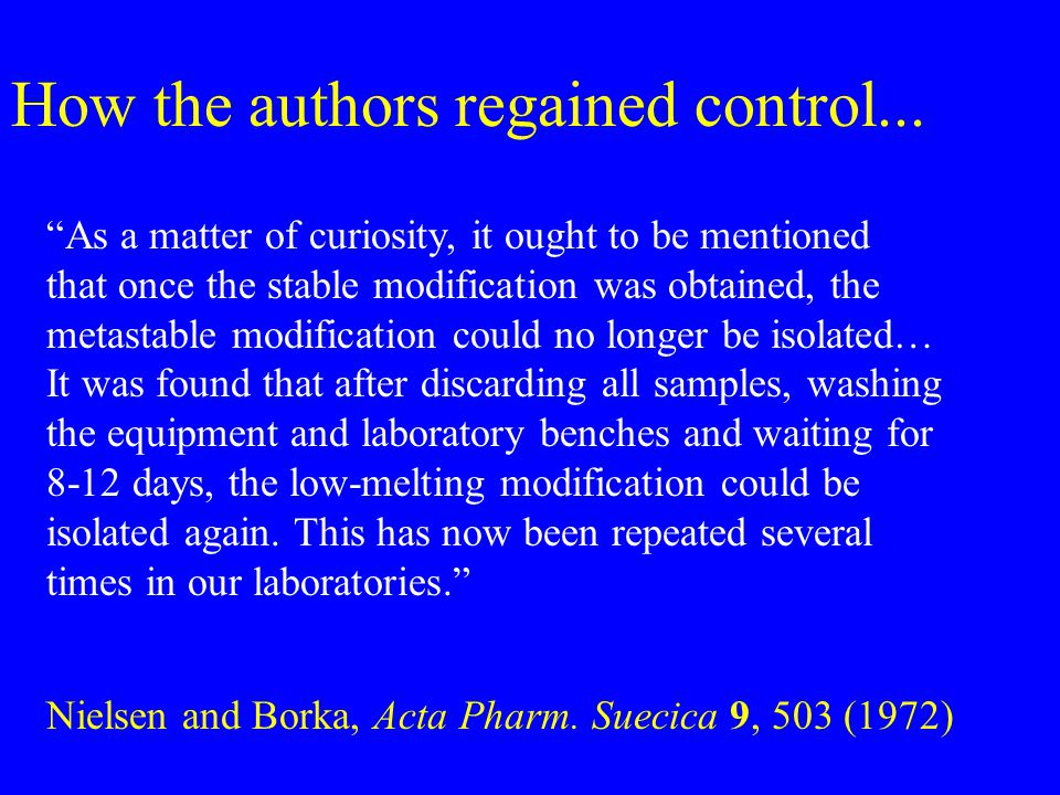 How the authors regained control...