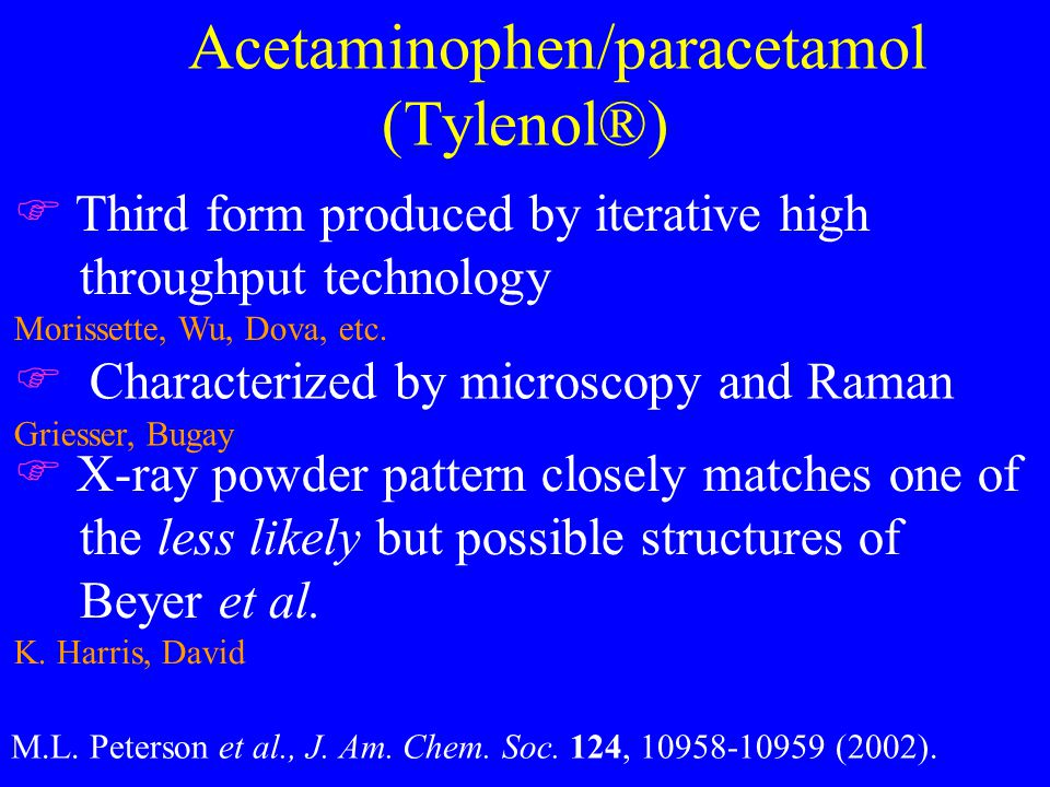 Acetaminophen/paracetamol (Tylenol®) F Third form produced by iterative high throughput technology Morissette, Wu, Dova, etc.