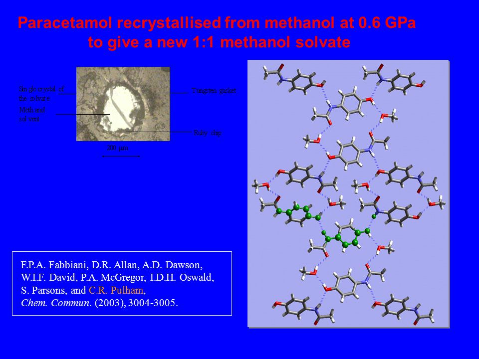 Paracetamol recrystallised from methanol at 0.6 GPa to give a new 1:1 methanol solvate F.P.A.