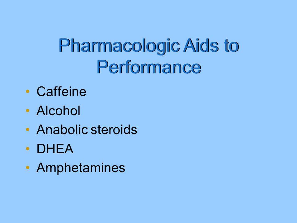 Caffeine Alcohol Anabolic steroids DHEA Amphetamines