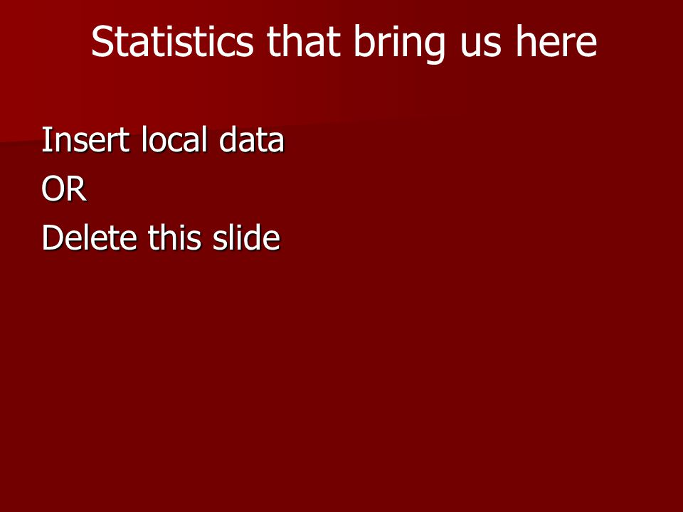 Insert local data OR Delete this slide Statistics that bring us here