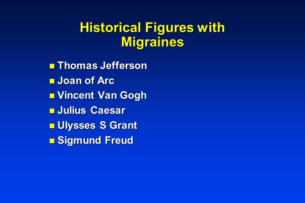 Historical Figures with Migraines n Thomas Jefferson n Joan of Arc n Vincent Van Gogh n Julius Caesar n Ulysses S Grant n Sigmund Freud