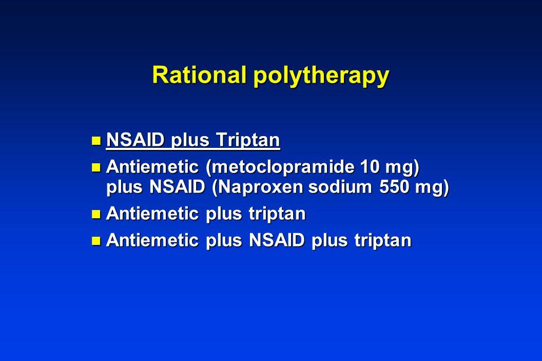 Rational polytherapy n NSAID plus Triptan n Antiemetic (metoclopramide 10 mg) plus NSAID (Naproxen sodium 550 mg) n Antiemetic plus triptan n Antiemetic plus NSAID plus triptan
