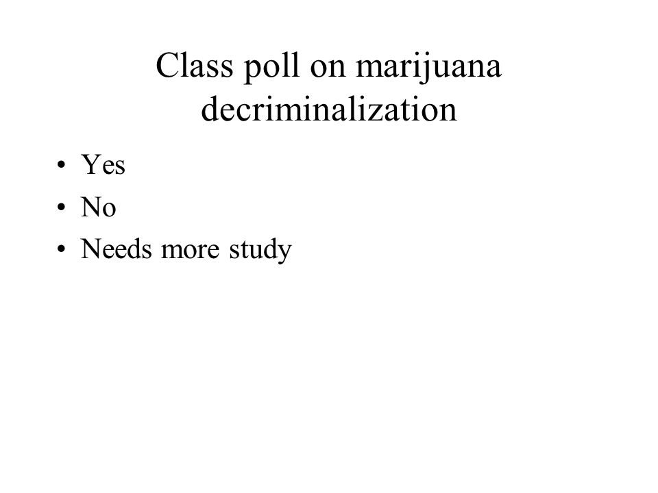 Class poll on marijuana decriminalization Yes No Needs more study