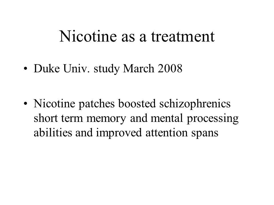 Nicotine as a treatment Duke Univ.