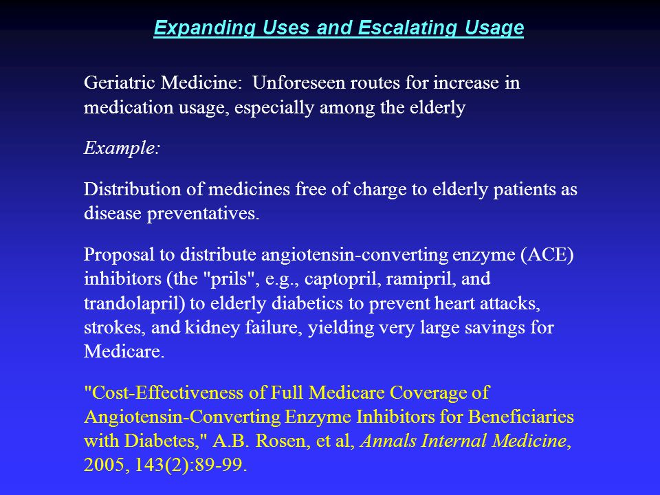Expanding Uses and Escalating Usage Geriatric Medicine: Unforeseen routes for increase in medication usage, especially among the elderly Example: Distribution of medicines free of charge to elderly patients as disease preventatives.