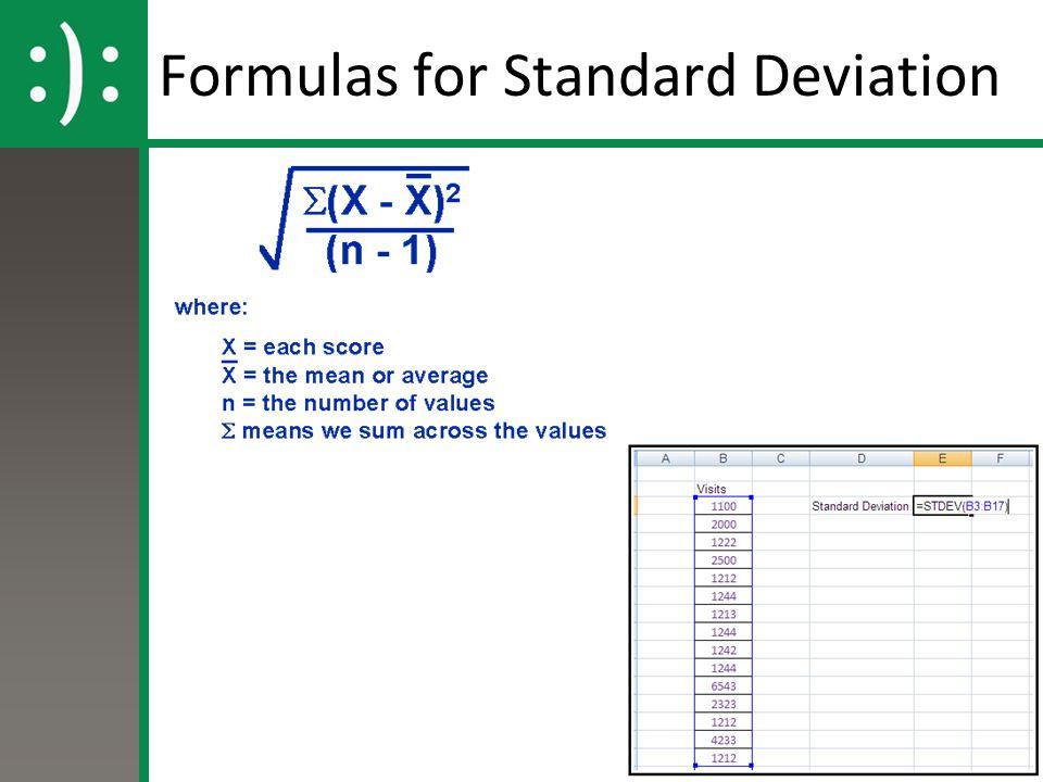 Formulas for Standard Deviation