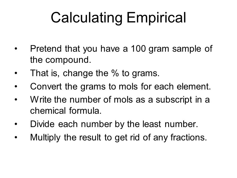 Example Calculate the empirical formula of a compound composed of 38.67 % C, 16.22 % H, and 45.11 %N.