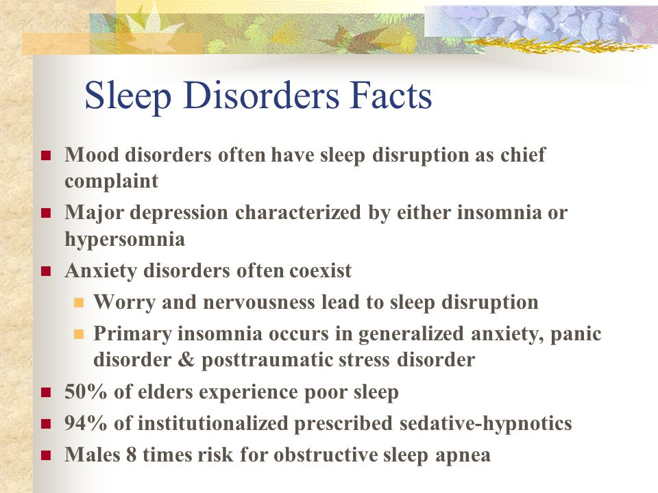 Sleep Disorders Facts Mood disorders often have sleep disruption as chief complaint Major depression characterized by either insomnia or hypersomnia Anxiety disorders often coexist Worry and nervousness lead to sleep disruption Primary insomnia occurs in generalized anxiety, panic disorder & posttraumatic stress disorder 50% of elders experience poor sleep 94% of institutionalized prescribed sedative-hypnotics Males 8 times risk for obstructive sleep apnea
