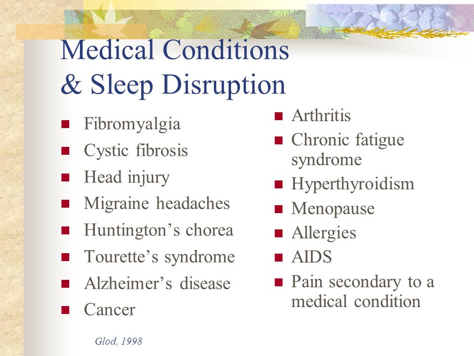Medical Conditions & Sleep Disruption Fibromyalgia Cystic fibrosis Head injury Migraine headaches Huntington's chorea Tourette's syndrome Alzheimer's disease Cancer Arthritis Chronic fatigue syndrome Hyperthyroidism Menopause Allergies AIDS Pain secondary to a medical condition Glod, 1998