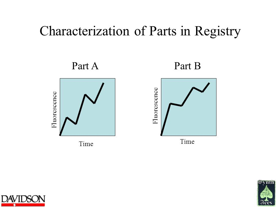 Characterization of Parts in Registry Part A Fluorescence Time Part B Fluorescence Time