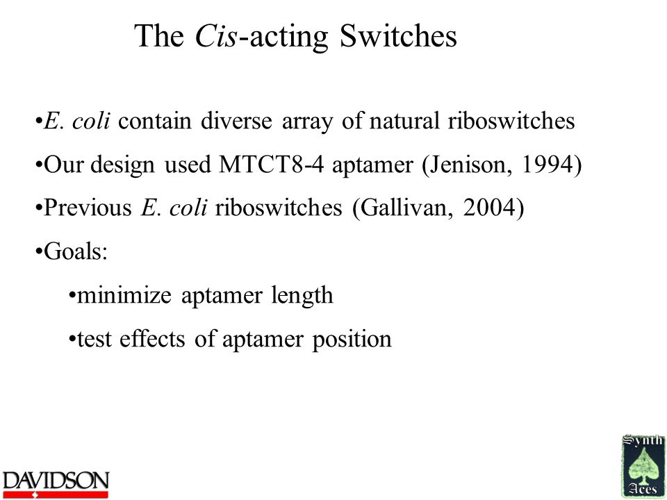 The Cis-acting Switches E. coli contain diverse array of natural riboswitches Our design used MTCT8-4 aptamer (Jenison, 1994) Previous E. coli riboswi