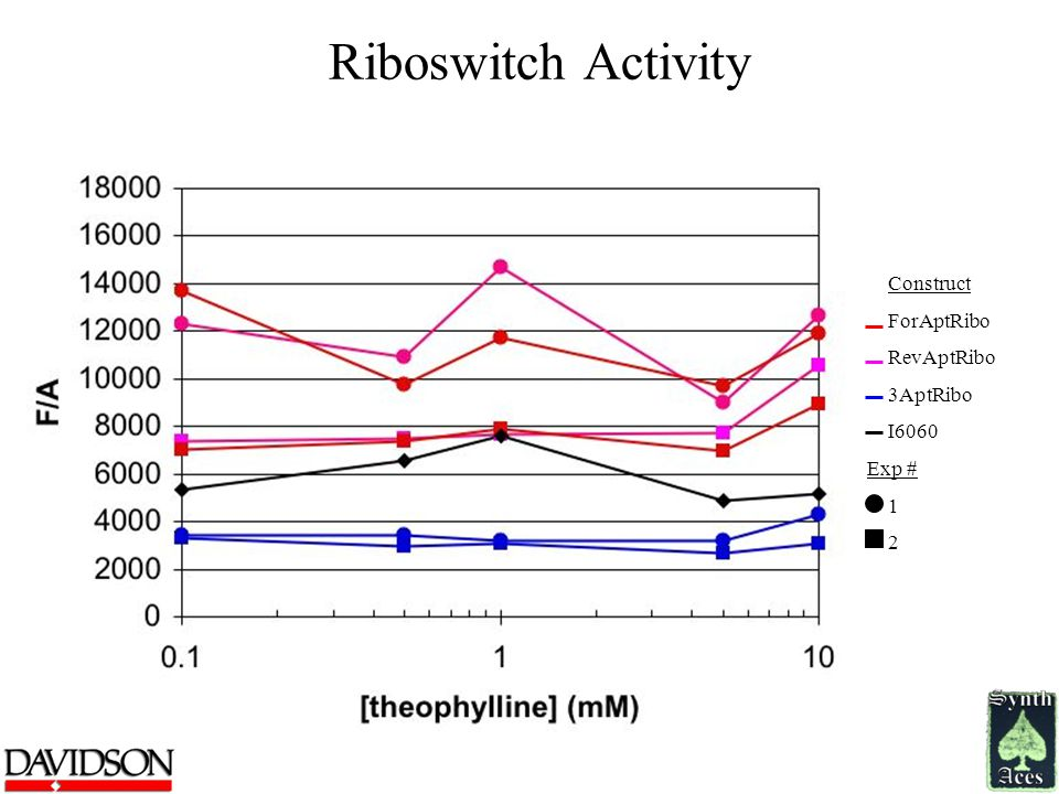 Riboswitch Activity Construct ForAptRibo RevAptRibo 3AptRibo I6060 Exp # 1 2