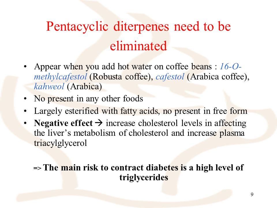 9 Pentacyclic diterpenes need to be eliminated Appear when you add hot water on coffee beans : 16-O- methylcafestol (Robusta coffee), cafestol (Arabica coffee), kahweol (Arabica) No present in any other foods Largely esterified with fatty acids, no present in free form Negative effect  increase cholesterol levels in affecting the liver's metabolism of cholesterol and increase plasma triacylglycerol => The main risk to contract diabetes is a high level of triglycerides