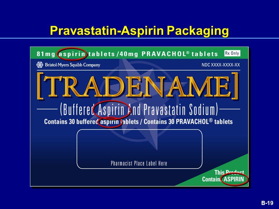 B-19 Pravastatin-Aspirin Packaging