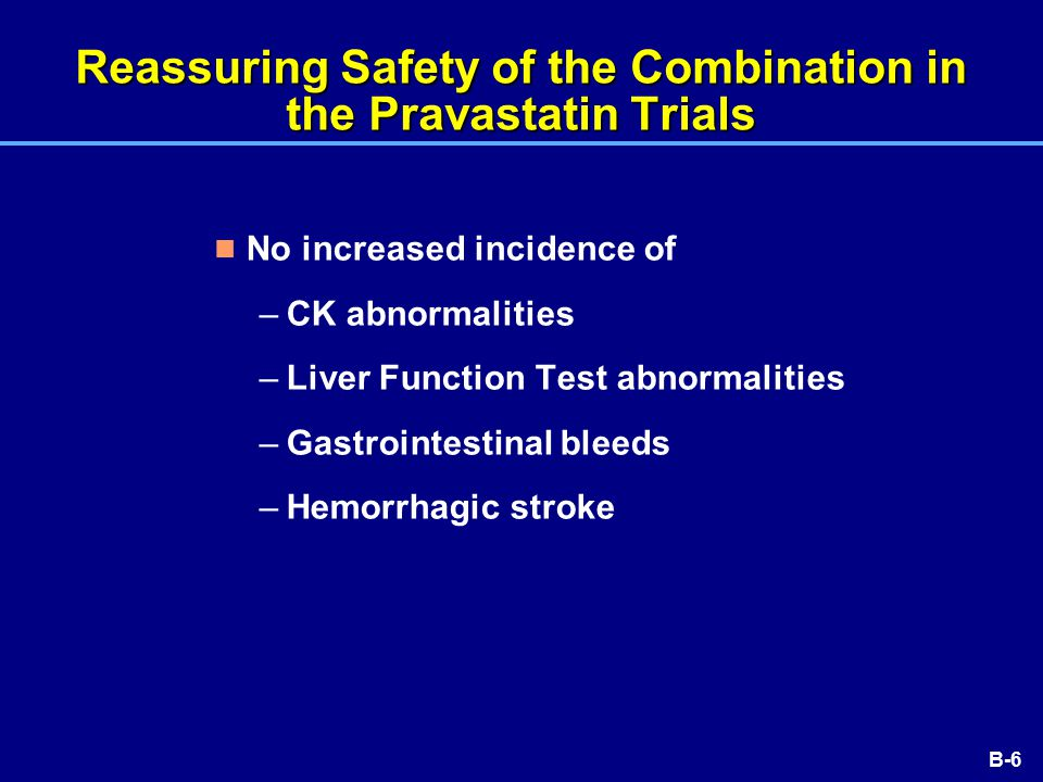 B-6 Reassuring Safety of the Combination in the Pravastatin Trials No increased incidence of –CK abnormalities –Liver Function Test abnormalities –Gastrointestinal bleeds –Hemorrhagic stroke