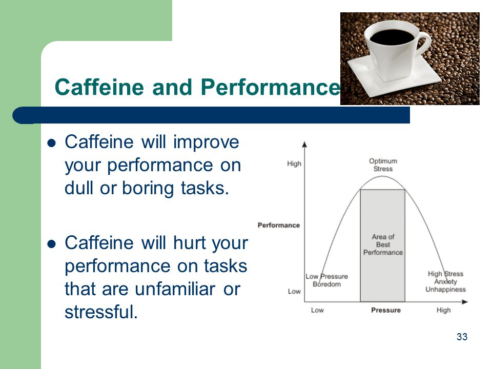 33 Caffeine will improve your performance on dull or boring tasks. Caffeine will hurt your performance on tasks that are unfamiliar or stressful. Caff