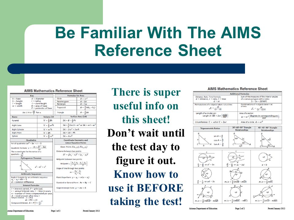 Be Familiar With The AIMS Reference Sheet There is super useful info on this sheet.