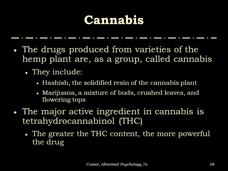 58Comer, Abnormal Psychology, 7e Cannabis  The drugs produced from varieties of the hemp plant are, as a group, called cannabis  They include:  Has