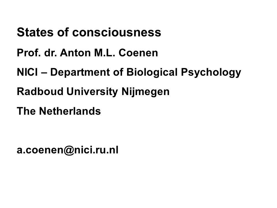 States of consciousness Prof. dr. Anton M.L.