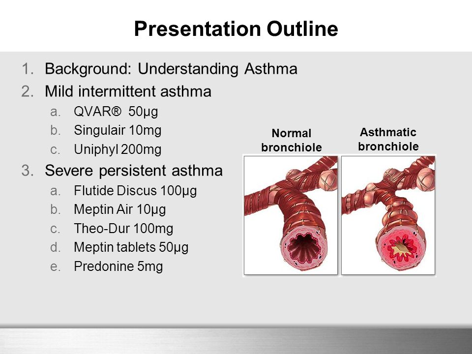 Here comes your footer 1.Background: Understanding Asthma 2.Mild intermittent asthma a.QVAR® 50μg b.Singulair 10mg c.Uniphyl 200mg 3.Severe persistent
