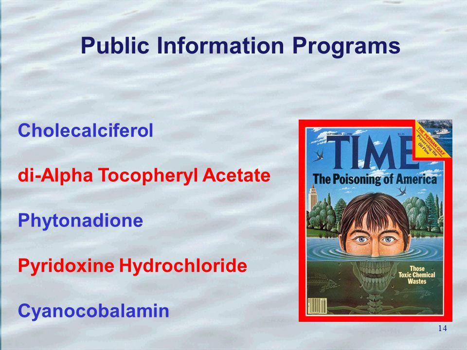 14 Cholecalciferol di-Alpha Tocopheryl Acetate Phytonadione Pyridoxine Hydrochloride Cyanocobalamin Public Information Programs