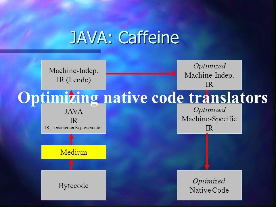 JAVA: Caffeine Bytecode Optimized Machine-Specific IR Optimized Native Code Optimized Machine-Indep. IR Machine-Indep. IR (Lcode) JAVA IR IR = Instruc
