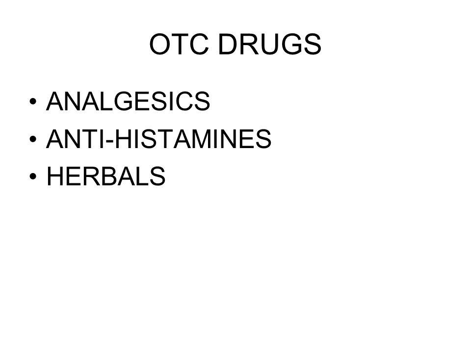 OTC DRUGS ANALGESICS ANTI-HISTAMINES HERBALS