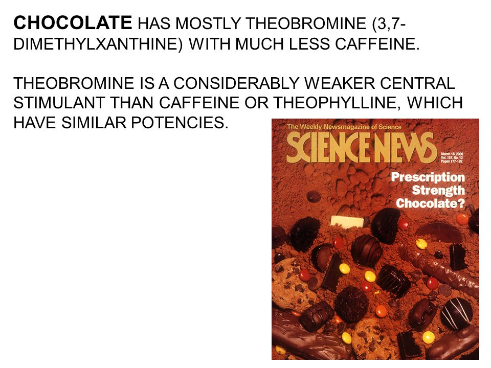 CHOCOLATE HAS MOSTLY THEOBROMINE (3,7- DIMETHYLXANTHINE) WITH MUCH LESS CAFFEINE. THEOBROMINE IS A CONSIDERABLY WEAKER CENTRAL STIMULANT THAN CAFFEINE