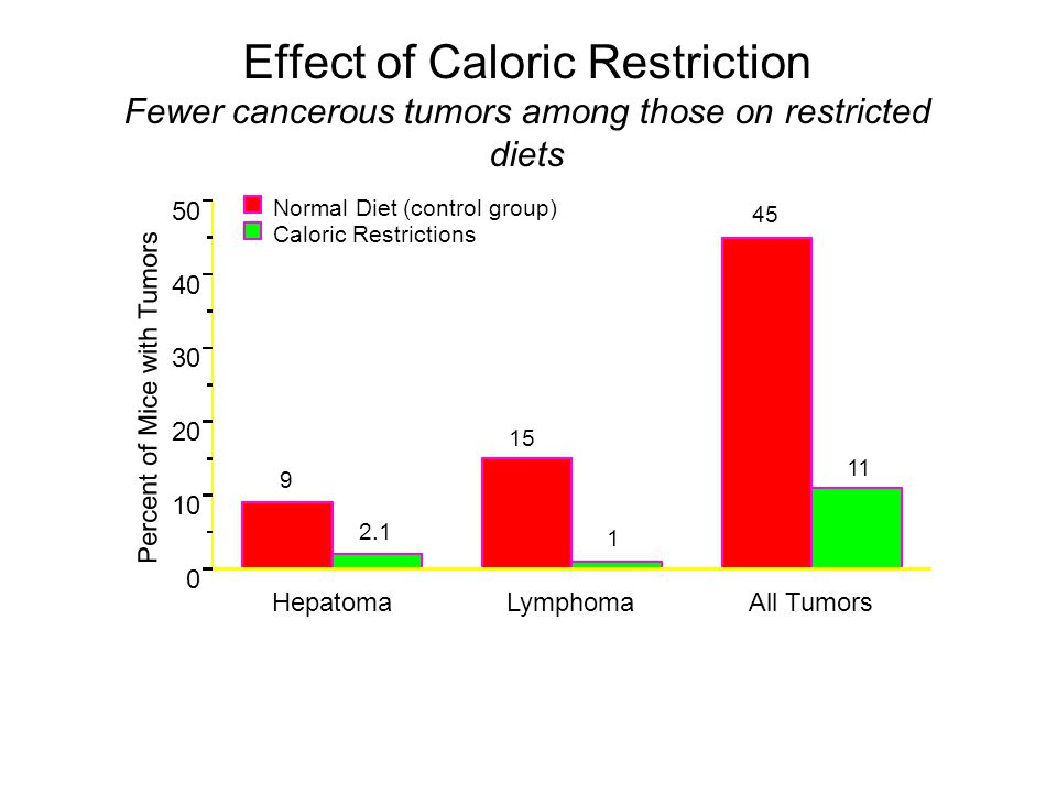 Effect of Caloric Restriction Fewer cancerous tumors among those on restricted diets HepatomaLymphomaAll Tumors 0 10 20 30 40 50 Percent of Mice with