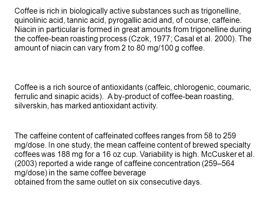 Coffee is rich in biologically active substances such as trigonelline, quinolinic acid, tannic acid, pyrogallic acid and, of course, caffeine. Niacin