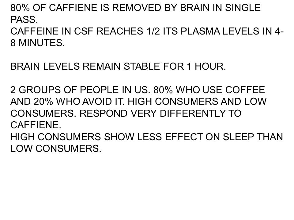 80% OF CAFFIENE IS REMOVED BY BRAIN IN SINGLE PASS. CAFFEINE IN CSF REACHES 1/2 ITS PLASMA LEVELS IN 4- 8 MINUTES. BRAIN LEVELS REMAIN STABLE FOR 1 HO