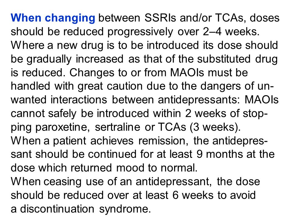 SSRIs have advantages over tricyclics in simplicity of introduction and use.