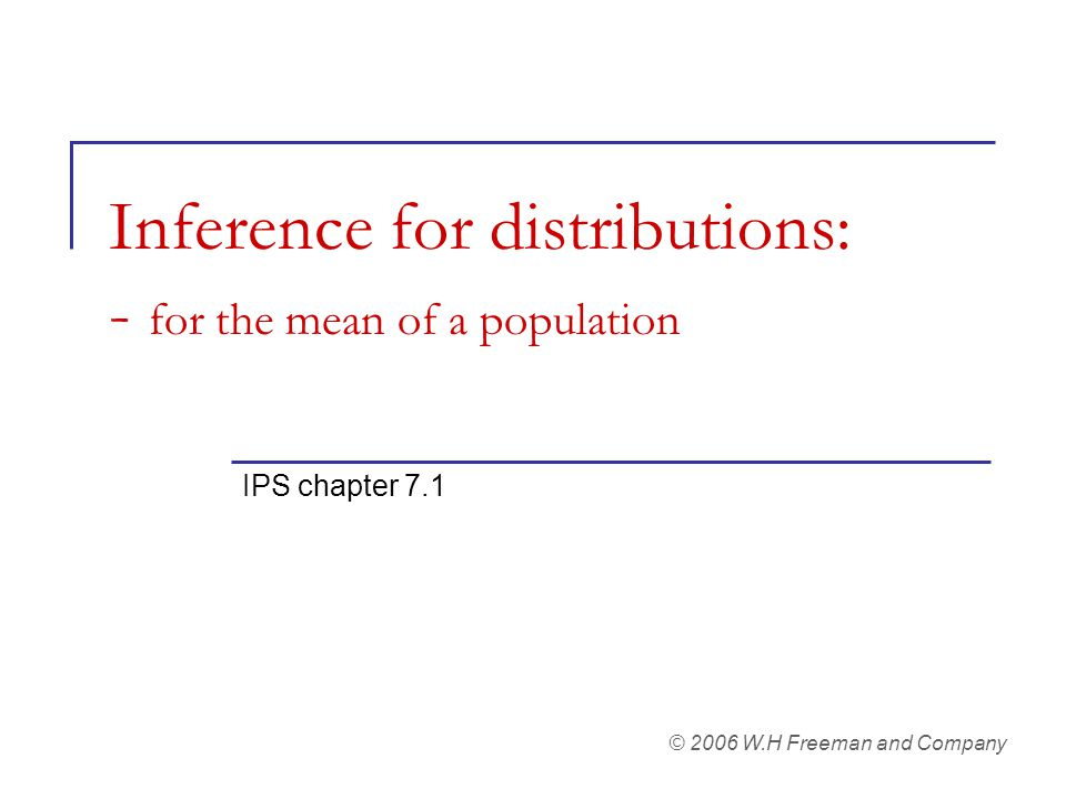 Inference for distributions: - for the mean of a population IPS chapter 7.1 © 2006 W.H Freeman and Company