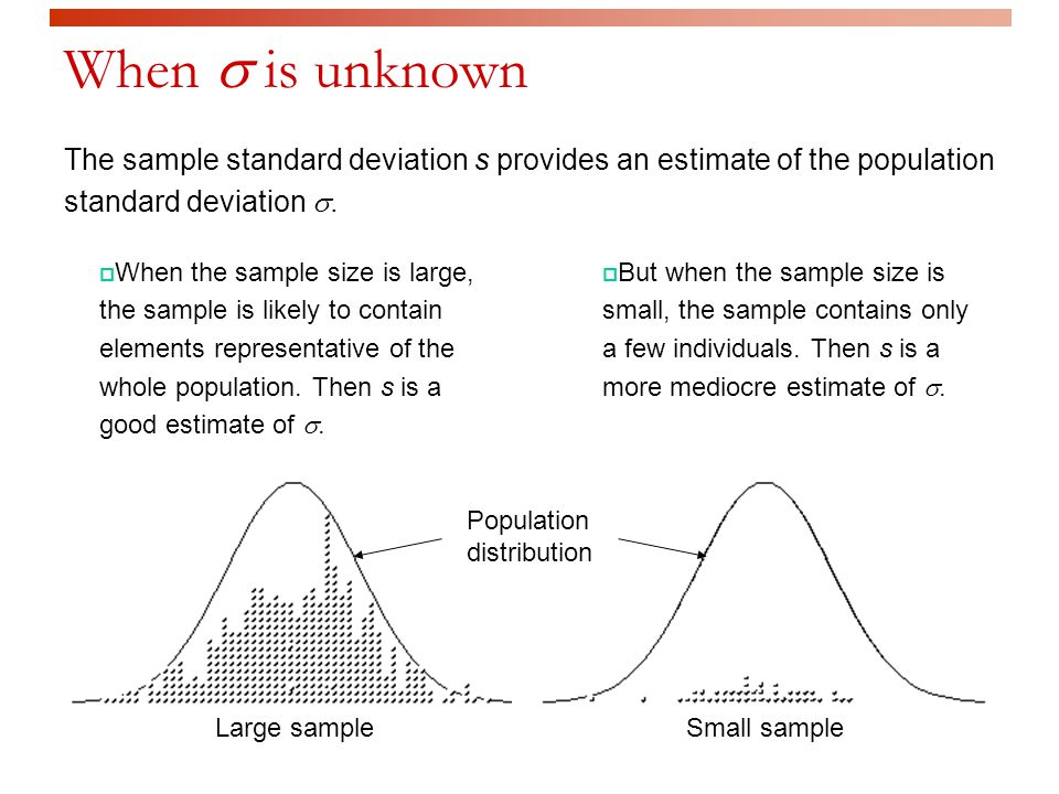 When  is unknown  When the sample size is large, the sample is likely to contain elements representative of the whole population.