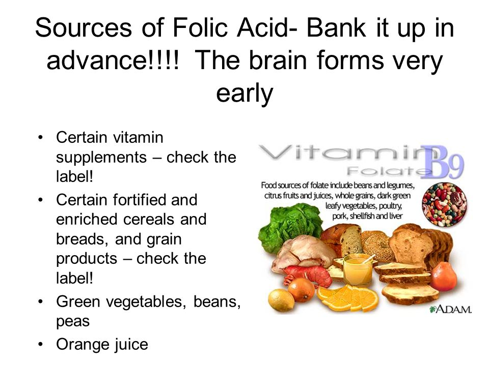 Sources of Folic Acid- Bank it up in advance!!!.